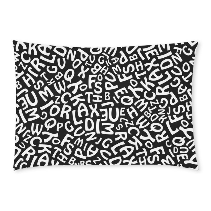 Alphabet Black and White Letters Custom Rectangle Pillow Cases 20x30 (One Side)