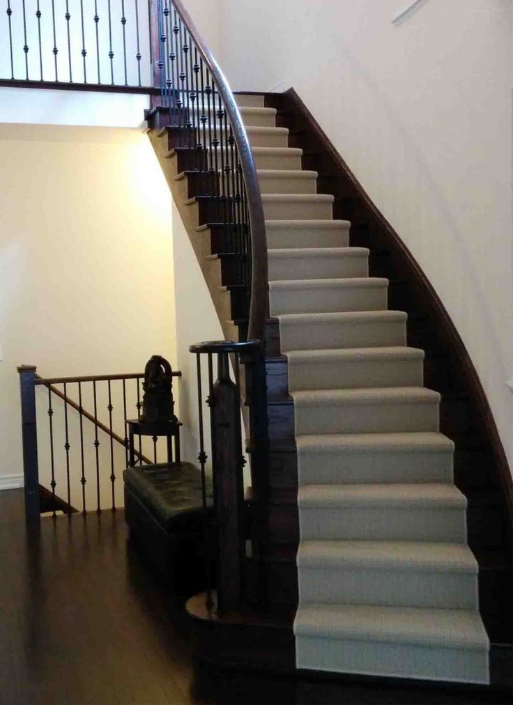 Grey Wool Runner On Dark Brown Stairs Curved Combined With Hnd Rails Over  Iron Baluster As Well As 8 Ft Runner Rug And Carpet Runner For Stairs Over  Carpet.