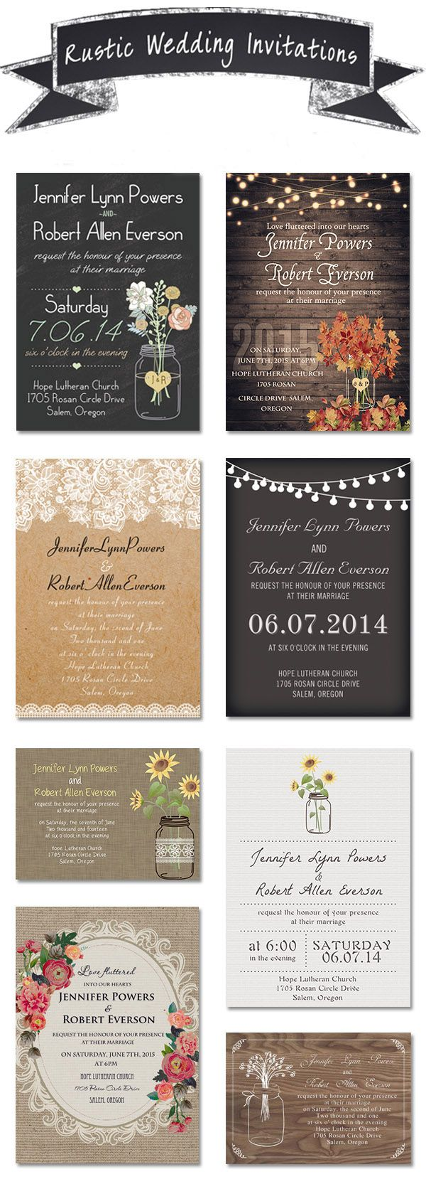 country rustic wedding invitations with free rsvp cards