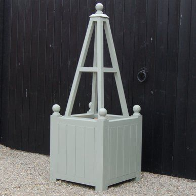 Winchester Wooden Garden Planter With Obelisk Painted Farrow Ball Pigeon