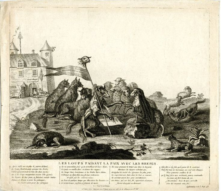 Satire on the constitutional clergy: a group of sheep, one dressed in nun's clothing, signs a treaty with four wolves, one dressed as a revolutionary; in the background a building labelled 'Garde Manger'.  1790?  Etching