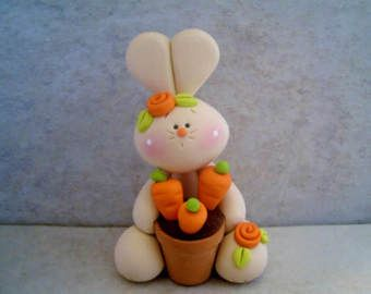 Bunny  Chocolate Egg  Polymer Clay  Easter  by countrycupboardclay