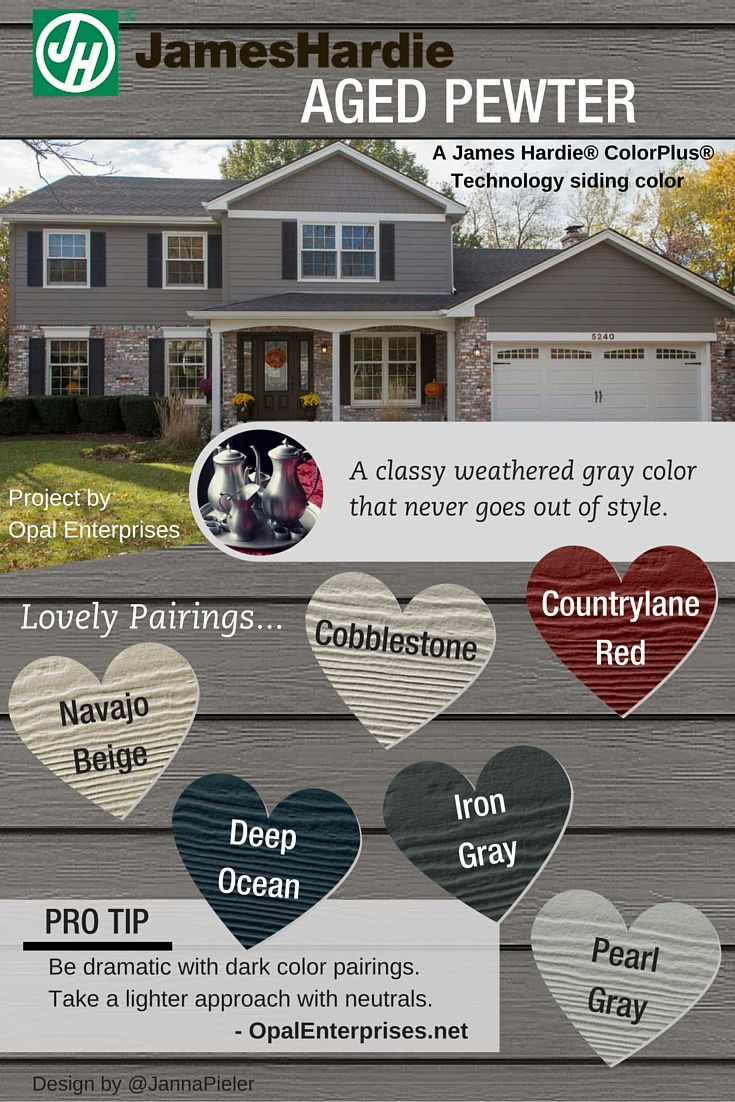 House colors on pinterest paint colors craftsman and james hardie - Aged Pewter James Hardie Siding Color Inspiration