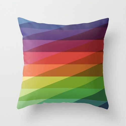 18x18 Rainbow Geometric Throw Pillow COVER ONLY by iamchristinabot, $23.00
