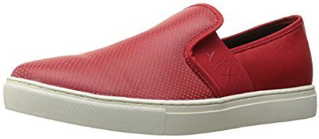 A|X Armani Exchange Men's Micro Perf Slip on Fashion Sneaker, Absolute Red, 7 M US
