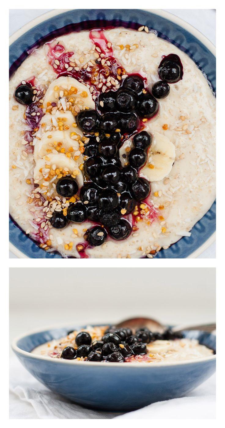 Jasmin Tee Porridge mit Heidelbeeren | TheVeggieKitchn Blog