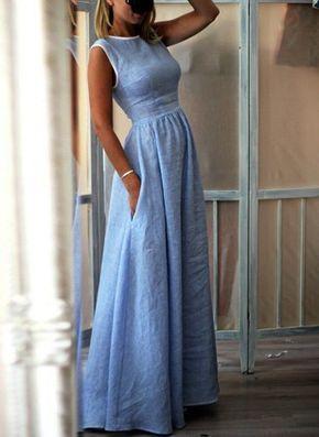 Lässige Kleidung Ärmellos Solide Maxi Baumwolle Polyester Kleider – Floryday @…