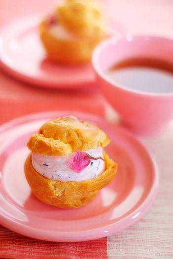 cherry blossom cream puff