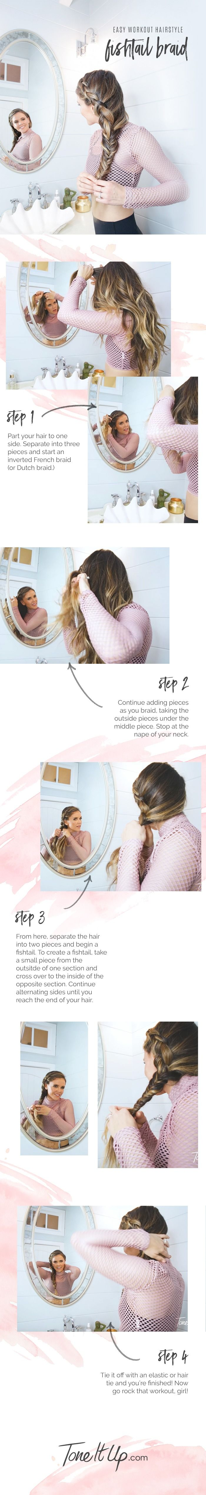 Our go-to gym hairstyle is a quick and cute fishtail braid. Find the video tutorial on ToneItUp.com.