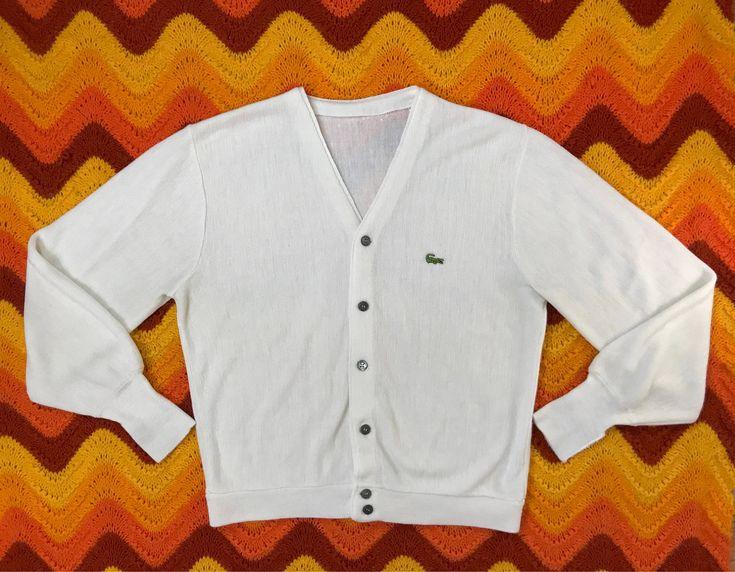 Vintage Lacoste cardigan sweater, 1970s IZOD sweater, retro ivory cardigan, grandpa sweater, orlon acrylic athletic sweater, unisex, size L by SpacedOutMama on Etsy