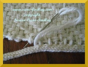 How to sew spool knitted icord to the edge of a woven blanket