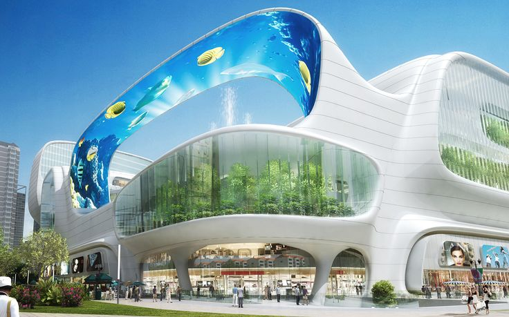 This shopping mall has a massive vertical aquarium, an LED canopy and gondola rides