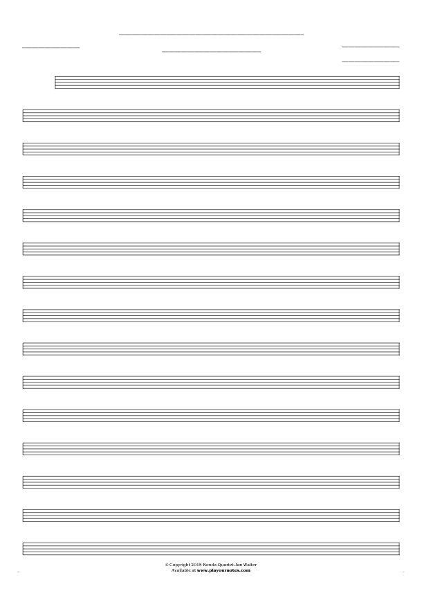Free Blank Sheet Music sheet music by Jan Walter. Part: Notes for any instrument - small staves.