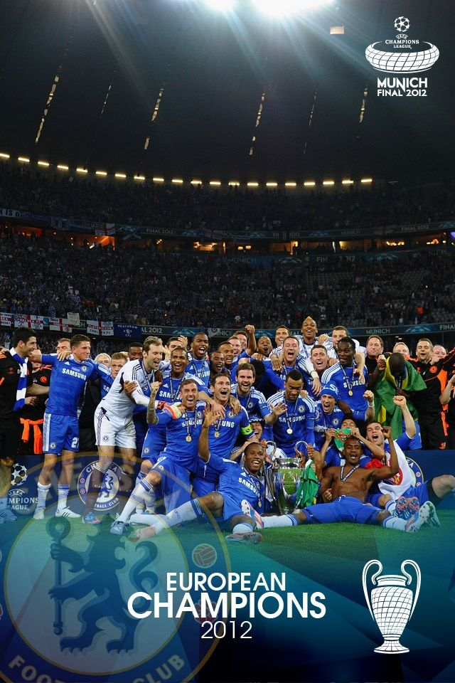 Chelsea celebrating Champions League 2012