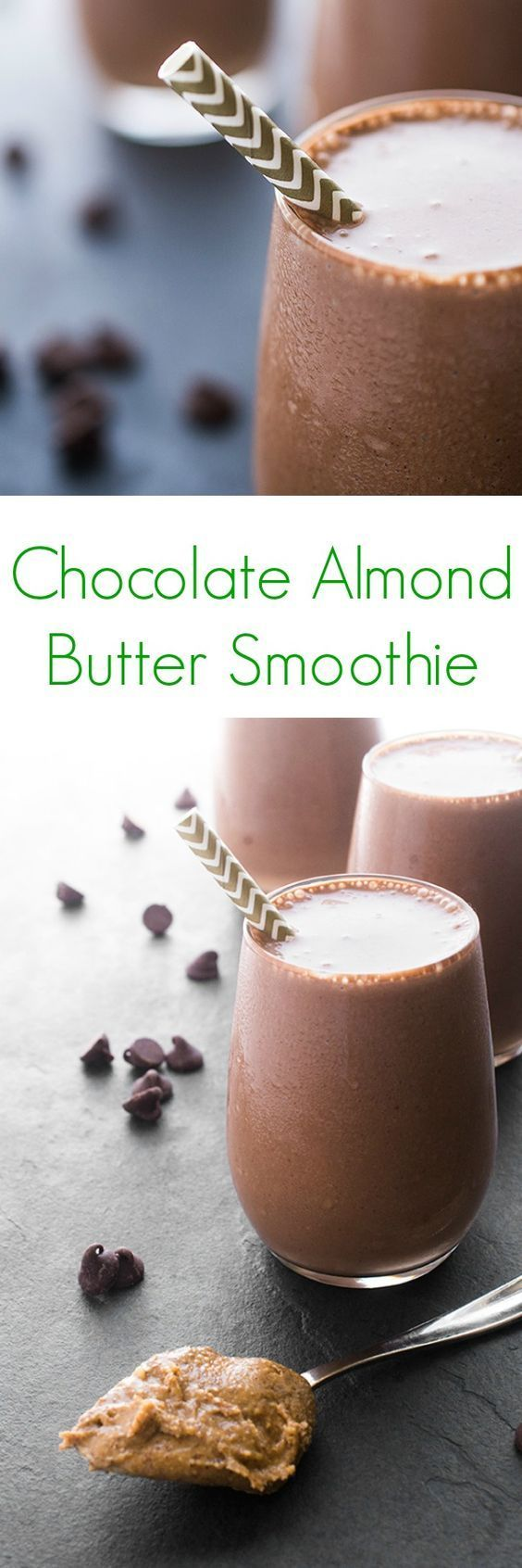 Chocolate Almond Butter Smoothie - Made with cocoa powder and almond butter, this smoothie is thick, creamy and protein-packed.