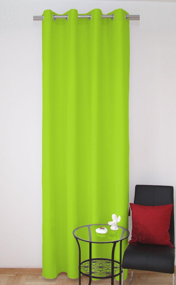 Gotowe zasłony jednolite na kółkach w kolorze zielonym