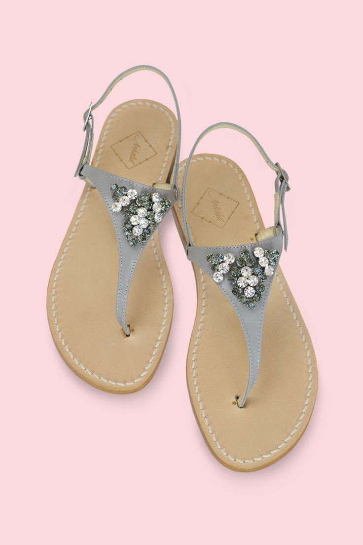 Amanda Swarovski crystal sandals in grey leather. Available in flats or with a 2cm heel. Worldwide shipping.  #ankaliadesigns #ankaliasandals #amandasandals #sandals