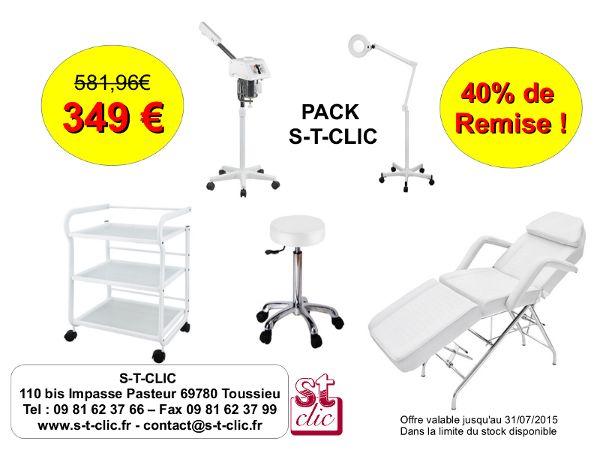 Pack cabine soin complète à -40% de remise !!  Tel 09.81.62.37.66 www.s-t-clic.fr  #stclic #soin #esthétique #fauteuil #guéridon #vapozone #lampeloupe #tabouret #beauté