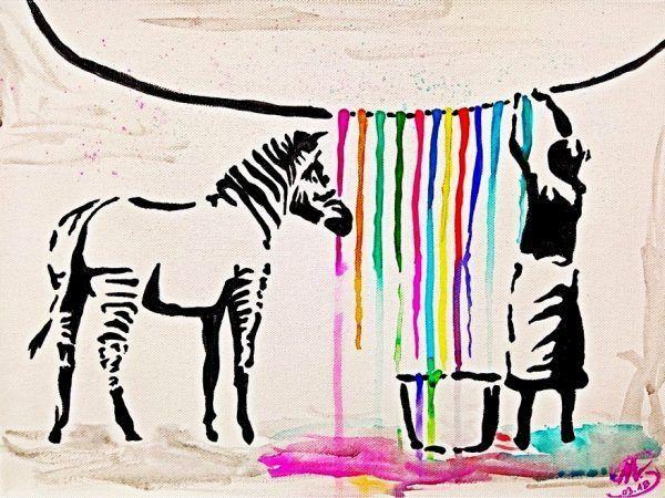 """Du möchtest das ArtNight Motiv """"Washig Zebra"""" von Banksy einmal selbst unter fa…"""
