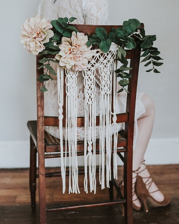Boho macrame wedding chair decoration