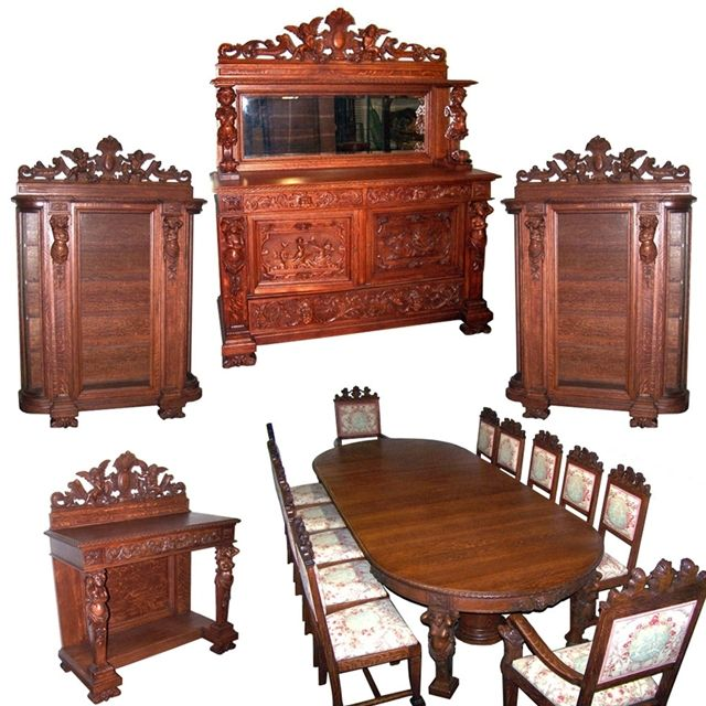 17 Piece Carved American Oak Antiuqe Dining Set With Two Matching China Cabinets By RJ