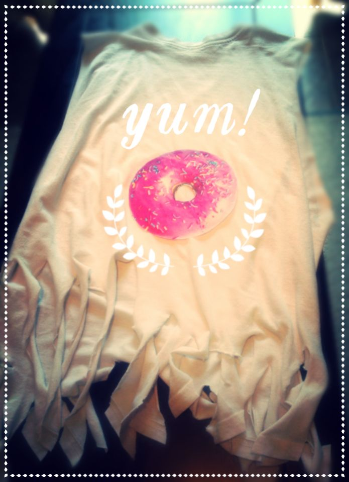 Adorable iron on donut using tracing Paper! How cute is this shirt?!
