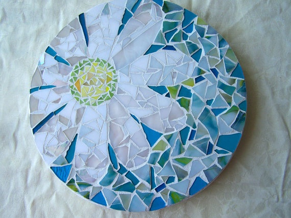 Mosaic Lazy Susan Daisy on Turquoise and Green by HeatherMBC, $145.00