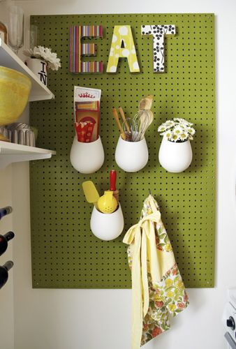 Painted Peg Board: Peg board with decoupage letters and hanging containers (containers from ikea: http://www.ikea.com/us/en/catalog/products/70105659/#)