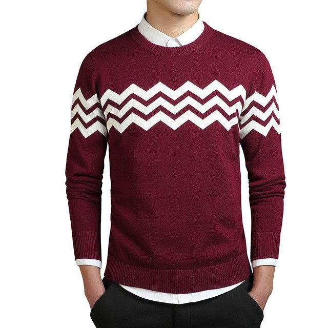 Wave Shape Cashmere Sweaters Men Autumn Mens Sweaters Striped Printed Wool Pullovers