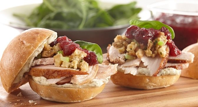 Ultimate Leftover Turkey Sandwich : The ultimate leftover turkey sandwich is a delicious combination of your Thanksgiving leftovers – roast turkey, stuffing and cranberry sauce – layered in a dinner roll.