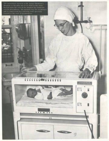 Nurse at St. Louis Children's Hospital Premature Baby Center, 1949. Becker Medical Library.