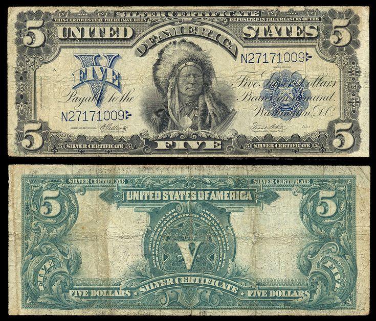 American Currency | 271904. USA , SilverCertificate , 5 dollars P340 1899 Onepapa, Elliott ...