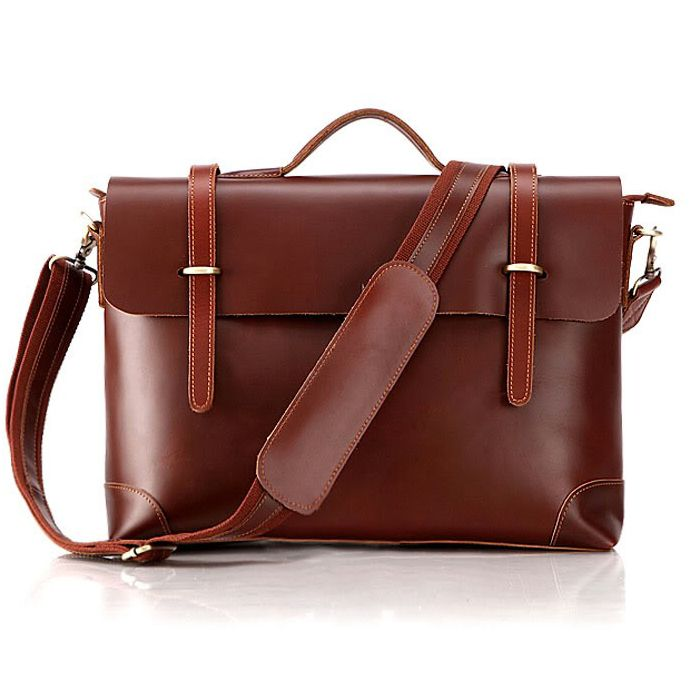 Leather Family — Genuine Cowhide Leather Laptop Handbag Briefcase Macbook Tote Birthday Gift--FREE SHIPPING