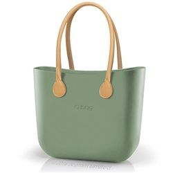 O bag Classic in Sage Green with Natural Long Real Leather Handles