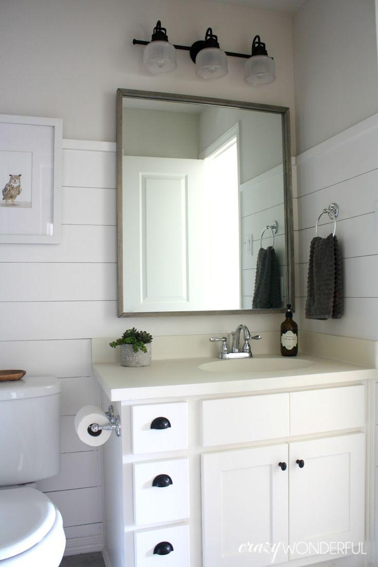 crazy wonderful shiplap boy 39 s bathroom reveal bathrooms. Black Bedroom Furniture Sets. Home Design Ideas