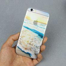 Yeni tasarım şeffaf okyanus kumlu plaj köpük güneş iPhone 6 6s 4 sanat baskı sabit geri iphone için kapak 6 4.7 inç(China (Mainland))