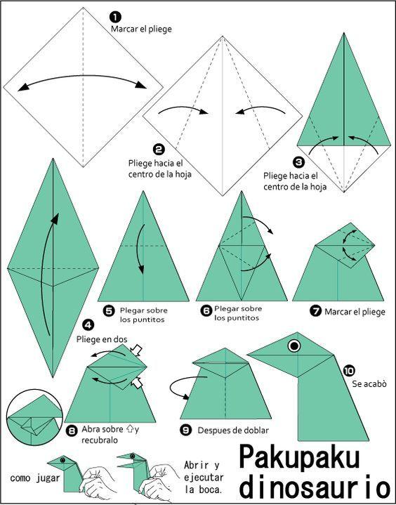 Origami Pakupaku dinosaurio