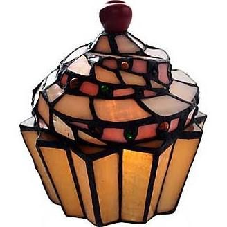 River of Goods Stained Glass Cupcake 6.5'' H Table Lamp with Novelty Shade, Brown