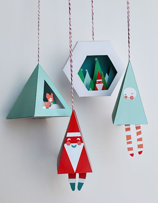 Printable holiday ornaments by Smallful. Gorgeous!