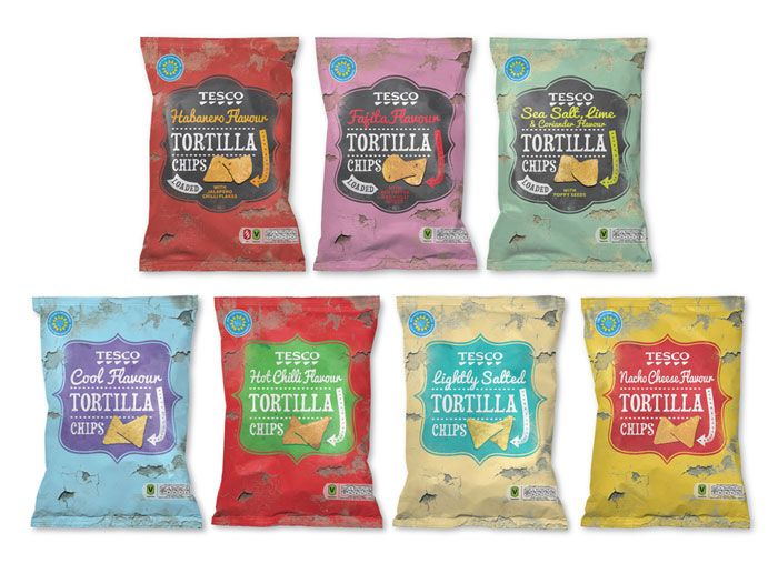 New packaging for Tesco Tortillas & Dips by Buddy