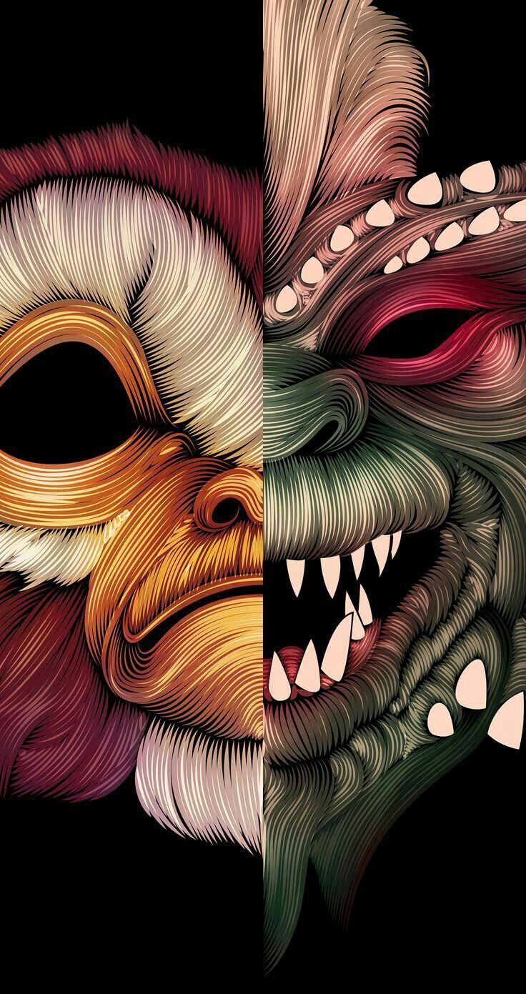 GREMLINS Original Watercolor Painting  Stripe  Horror Decor