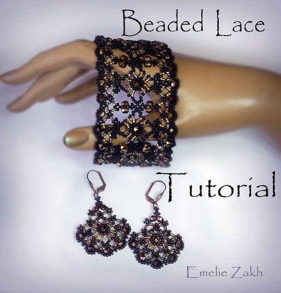 Tutoriel de perles dentelle noire perles Boucles d'oreilles et bracelet perles bijoux tutoriel instructions motif perles tissage de perles…