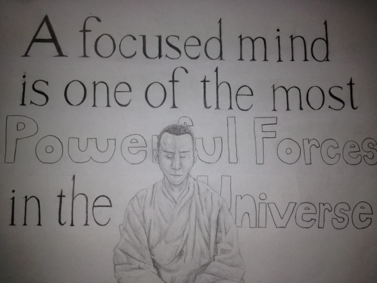 Meditating monk done entirely with pencil