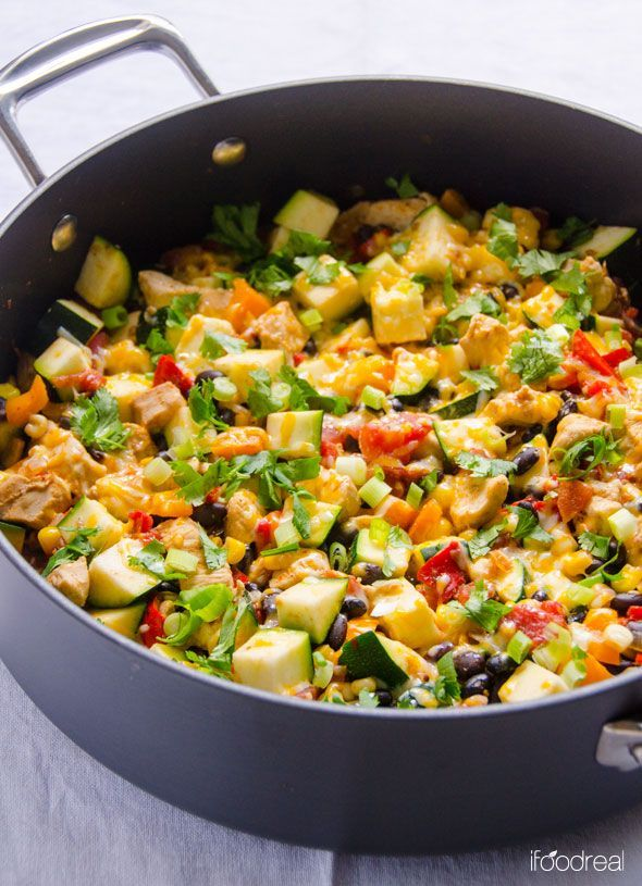 One Pan Skinny Tex Mex Chicken and Zucchini -- healthy 30 minute dinner with black beans and corn, topped with a bit of cheese, cilantro and scallions. Easy and delicious!