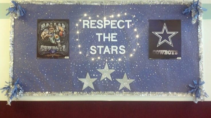Dallas Cowboy bulletin board. Walker Butte Elementary School's NFL door decorating contest!