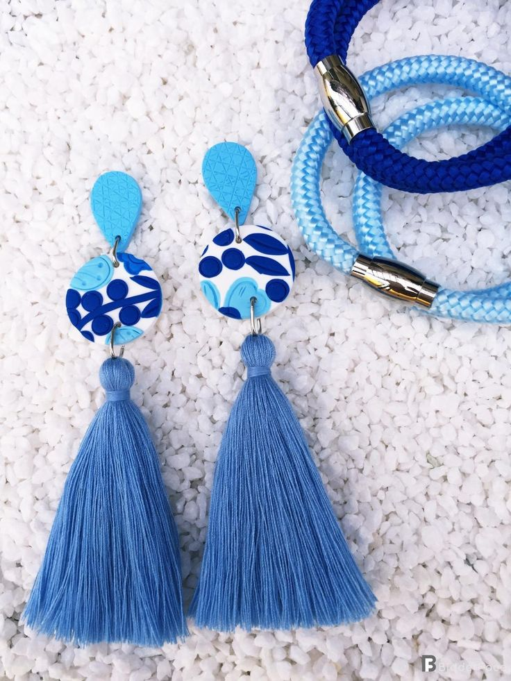 Handmade Polymer Clay Earrings With Tassel – Blue Flowers Collection