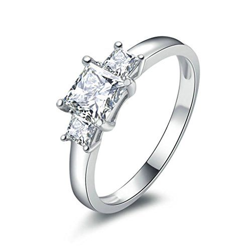 AmDxD Jewelry Silver Plated Women Promise Customizable Rings 3 Square CZ Size 105 * To view further for this item, visit the image link.