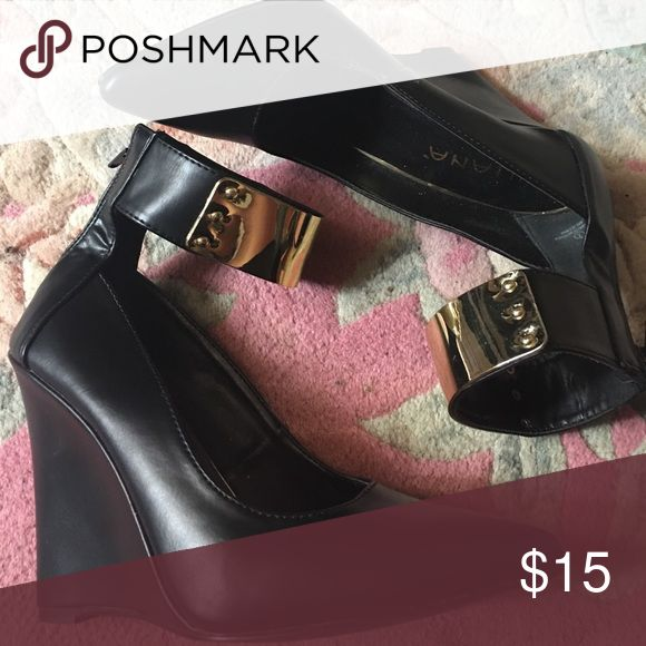 Pointed wedge Closed toe pointed wedge with gold ankle details (non-metal) zips at back ankle. Liliana Shoes Wedges