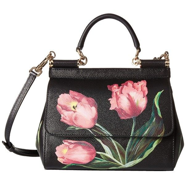 Dolce & Gabbana Tulip Print Sicily Bag (Tulipani Rosa F. Nero) Bags (1,725 CAD) ❤ liked on Polyvore featuring bags, black, flat bags, hardware bag, handle bag, structured bag and strap bag