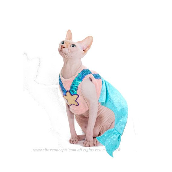 Costumes for Pets Mermaid cat costume pet costume Mermaid Halloween Costume Costumes for Cats dog mermaid costume Gifts for pets by SimplySphynx